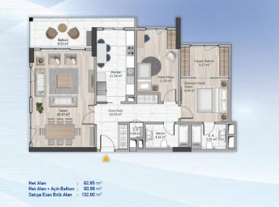 2 bedrooms 132.00 sqm - floor plan