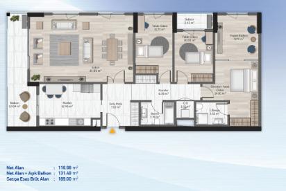3 bedrooms 189.00 sqm - floor plan