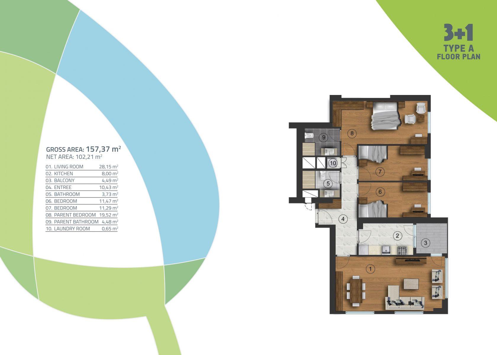 3 bedroom 157.37 sqm