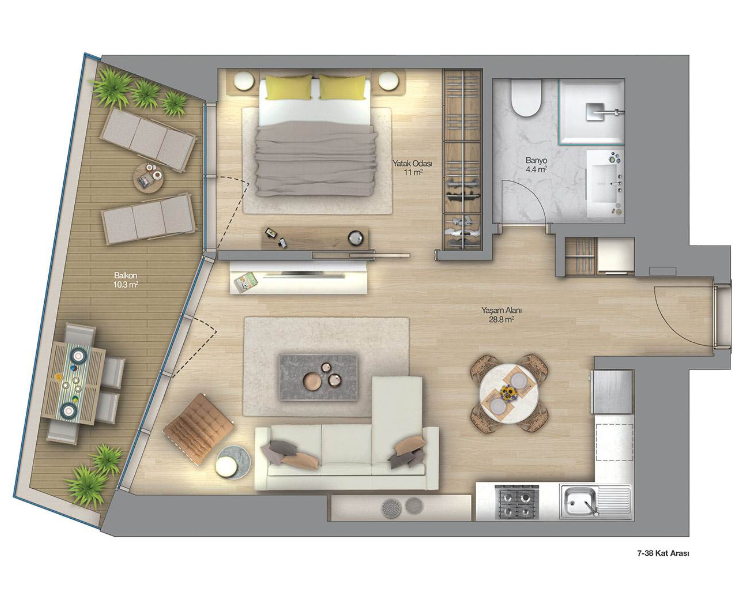 1 bedroom with 81.32sqm